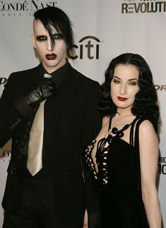 Singer Marilyn Manson and Dita Von Teese attend the Fashion Rocks Concert on September 2004 at Radio City Music Hall to celebrate the relationship between Fashion and Music hosted by Conde Nast,. Get premium, high resolution news photos at Getty Images Marilyn Manson Makeup, Dita Von Teese Style, Dita Von Teese Makeup, Burlesque, Rock Concert, Charles Manson, Rock Style, Costume, Makeup Looks