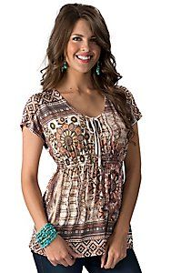 R. Rouge® Women's Brown and Natural Aztec Print Short Sleeve Smocked Fashion Top