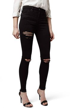 Free shipping and returns on Topshop Destroyed High Rise Ankle Skinny Jeans at Nordstrom.com. High-waisted jeans hug every curve in sleek, stretchy black denim ripped at the knees and upper thigh for a trend-right edge.