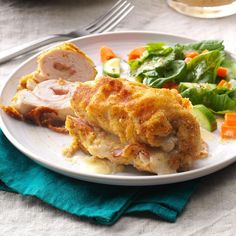 Golden Chicken Cordon Bleu Recipe- Recipes For an entree that's as elegant as it is easy, try this moist classic chicken recipe. It's a simple recipe but looks like you really fussed.Taste of Home Test Kitchen Oven Recipes, Chicken Recipes, Dinner Recipes, Cooking Recipes, Dinner Ideas, Turkey Recipes, Chicken Meals, Recipies, Boneless Chicken