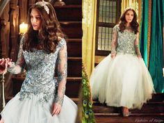 """In the episode (""""Forbidden"""") Lady Kenna wears this beautiful custom blue embroidered tulle gown made by Reign Costume Department.Worn with a vintage necklace from Carole Tanenbaum. Love this hair Kenna Reign, Lady Kenna, Marie Stuart, Reign Tv Show, Reign Mary, Reign Dresses, Reign Fashion, Tulle Gown, Medieval Fashion"""