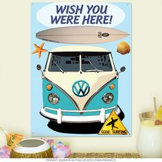Wish You Were Here Surfing VW Van Metal Sign | Beach Decor | RetroPlanet.com