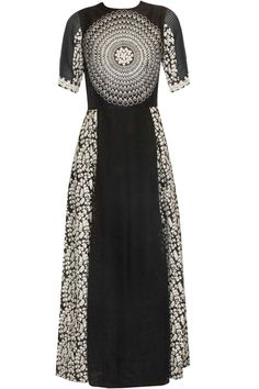 Black circular and floral thread embroidered long dress available only at Pernia's Pop Up Shop.