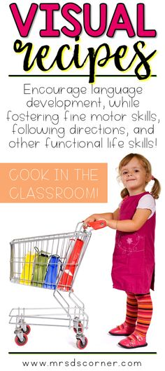 Encourage language development, while fostering fine motor skills, following directions and other functional life skills. Cooking in the classroom with visual recipes with REAL pictures. Visual recipes to cook with your students in the classroom, step by step real images to foster those super important life skills, and work on those IEP goals and objectives... all at the same time!