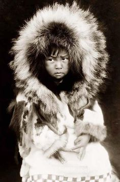 Historic image of Noatak child. Photographed in 1929 by Edward S. Curtis