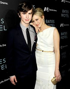 Freddie Highmore and Vera Farmiga. Love them on Bates Motel!  She is so pretty, would love to look like her.  And he looks kinda like my Jake.