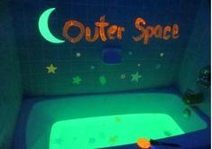 10 Fun Glow in the Dark Activities for Kids - WeHaveKids - Family Craft Ideas To Sell Handmade, Bath Tub Fun, Space Preschool, Small Vanity, Eye Tutorial, Floor Colors, Room Signs, I Love Makeup, Room Accessories