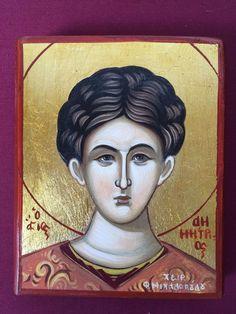 Saint Demetrios Hand painted Greek Orthodox Christian Byzantine Icon   | eBay Byzantine Icons, Orthodox Christianity, Saints, Greek, Hand Painted, Etsy Shop, Handmade Gifts, Painting, Ebay