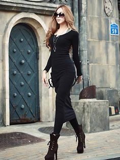 Product Name: Colorful New Arrival Long Sleeves Button Form-fitting Midi Maxi Dresses.