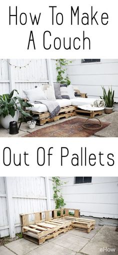 Como fazer um sofá de paletes, Home Accessories, DIY a couch out of pallets. This is a beautiful and easy to make piece you can add to your backyard, patio, or any room you want! Saves you so much mo. Unique Home Decor, Home Decor Items, Pallet Garden Furniture, Furniture Ideas, Garden Pallet, Pallet Furniture Outdoor Couch, Diy Furniture Couch, How To Diy Pallet Furniture, Furniture Stores