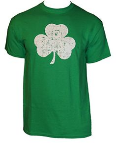 Retro Green Irish Distressed Shamrock T-shirt St Patricks Day Mens Ireland , Green, Medium