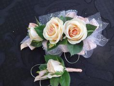 2 Piece wrist corsage and boutonniere in by AlwaysElegantBridal, $22.00