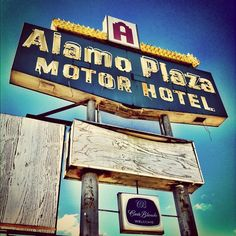 Vintage sign for the Alamo Plaza Motor Hotel, 4343 Old Spanish Trail, in Houston, Texas by MOLLYBLOCK, via Flickr