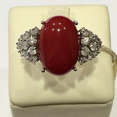 Coral and Diamond Ring ,18kt.gold mount.