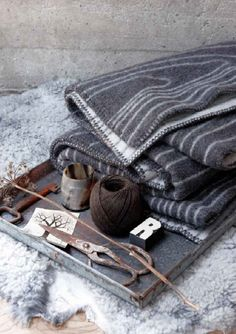 """Skog"" (""forest"") - a woolen plaid/blanket well suited for colder days and snuggling by the fireplace. Design by Andersen & Voll for Røros Tweed. Gris Taupe, Beige, Tweed, Scandinavian Interior Design, Scandinavian Home, Nordic Design, Large Tapestries, Design Bestseller, Gray Matters"