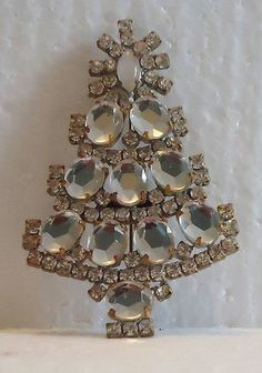 SIGNED HUSAR D Large Czech CHRISTMAS TREE BROOCH - Clear | eBay