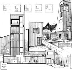 Archisketchbook – architecture sketchbook, a pool of architectural drawings, mode … - Architecture Drawing Architecture Design, Architecture Sketchbook, Architecture Graphics, Architecture Board, Architecture Diagrams, Photoshop Art, Architectural Section, Architectural Presentation, Architectural Models