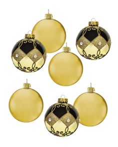 Chocolate Gold Glass Ornament Set