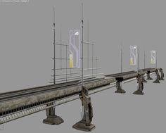 Hi tech bridge bridge suspension road river game asset textures detailed low poly column 3d hi tech future bank