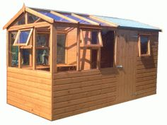 Garden Sheds And Greenhouse Combinations wooden greenhouse and solar potting shed | gnome garden