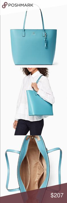 """⚜️KATE ⚜️SPADE♠️️ sawyer street tori in dusky blue The bag of your dreams in this irresistible robins eggs dusky blue shade, also like a Tiffany blue. 11.5""""h x 12.2""""w x 4.1""""d drop length: 8.7"""" smooth leather capital kate jacquard lining 14-karat light gold plated hardware DETAILS tote with zipper closure removeable bow keyfob dual interior slide pockets and zip pocket gold foil printed kate spade new york signature imported. Bundle to save more!! Bundle!Welcome to reasonable offers. kate…"""