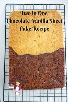 Chocolate Vanilla Sheet Cake - Half and Half Recipe - Video Recipe - Veena Azmanov Sheet Cake Pan, Sheet Cake Recipes, Easy Cake Recipes, Half Cake Recipe, Vanilla Sheet Cakes, Pancakes For One, Chocolate And Vanilla Cake, Birthday Sheet Cakes, Single Layer Cakes