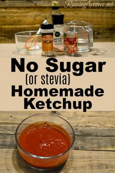 No Sugar or Stevia Homemade Ketchup is part of No Sugar Or Stevia Homemade Ketchup Raising Arrows - Make your own ketchup without sugar or other sweetener! Simple ingredients, and perfect for low carb or trim healthy mama menu plans! Sugar Free Ketchup Recipe, Keto Ketchup, Homemade Ketchup Recipes, Healthy Ketchup Recipe, Sugar Free Recipes Stevia, Homemade Ice, How To Make Ketchup, Catsup, Keto Sauces
