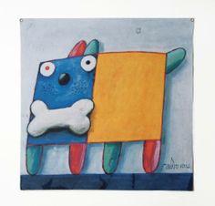 Cachorro79-Painel em lona de caminhão reciclada assinado atras pelo artista com tiragem limitada de 20 peças - Parceria com Roberta Gabriel Conceiro em tecidos.