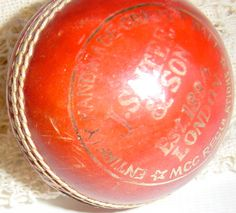Vintage English Red Leather Cricket Ball by Retromagination