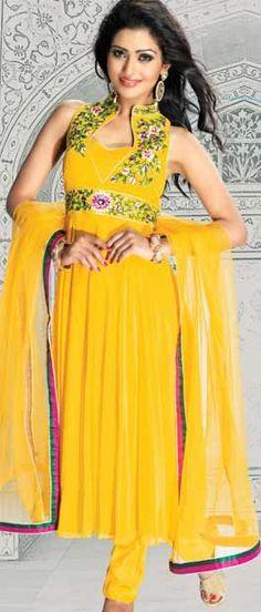 #Yellow Net #Anarkali #ChuridarKameez With #Dupatta @ $92.10 | Shop Here: http://www.utsavfashion.com/store/sarees-large.aspx?icode=kac11
