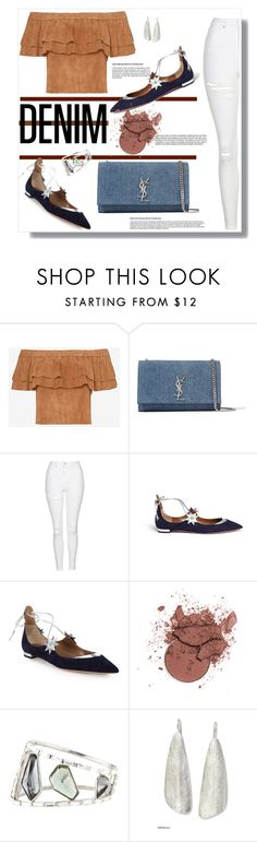 """Cypress"" by as0f1am on Polyvore featuring Yves Saint Laurent, Topshop, Aquazzura, Alexis Bittar, NOVICA, denim, YSL, topshop, AlexisBittar and aquazurra"