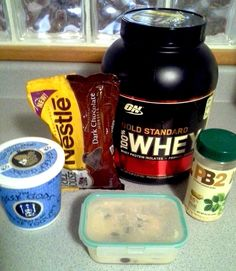 "Square Two: High Protein ""Cookie Dough"" Recipe (makes 2 servings)    1 cup Greek yogurt 1 scoop vanilla protein powder (I use Optimum Nutrition Gold Standard 100% Whey in Vanilla Ice Cream) 1 tbsp PB2, 2 tbsp chocolate chips Mix all ingredients together in a sealable container for easy storage and enjoy! Nutrition information (calculated via MyFitnessPal): Clories-206, Protein-19.2 grams, Carbohydrates-21.2 grams, Fat-5.9 grams, Sodium-178.5 mg, Fiber-2.5 grams"