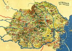 Colorful map of Romania, with artistically highlighted tourist attractions Romania Map, Natural Science Museum, Sculpture Museum, Popular Art, Italian Artist, National Museum, Science And Nature, Archaeology, City Photo