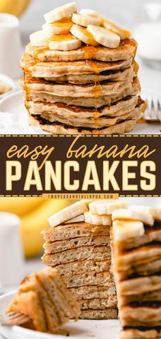 These Banana Pancakes are an easy breakfast idea or brunch recipe that is light and fluffy with a sweet flavor. Keep the leftovers in the freezer for busy mornings! Pin this recipe! Pancakes Made With Banana, Light And Fluffy Pancakes, Pancakes Easy, Banana Pancakes, Fun Easy Recipes, Brunch Recipes, Bread Recipes, Easy Meals, Delish
