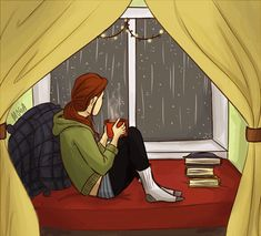 Give me a cozy reading nook and rain outside anytime