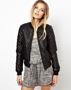 Leather Quilted Bomber Jacket *This is just an example Looking for a fitted black  bomber jacket