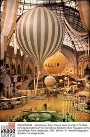 Autochrome. Paris, France: Leon Gimpel (1873-1948). Exhibited air balloons First international Exhibition of Air Navigation at the Grand Palais Paris, September, 1909.  ©Photo12 / French Photographic Society / The Image Works