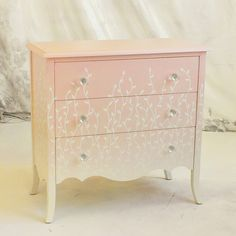 Sydney Barton - Painted Furniture: Pink and White Ombre Chest with Vine Motif