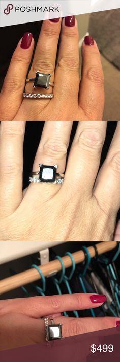 2.0ct genuine black diamond solitaire Size 7. Black diamond princess cut 2.0CT. 925 Silver. Diamond band .70Cf white gold 14KT. Diamond band is $499 Jewelry Rings