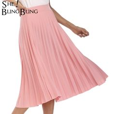 109747f22 SheBlingBling Pleated Skirt Summer Autumn Fashion High Waist Solid Color  Mid Calf Skirt All match Swing