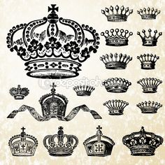 Royalty-Free (RF) Clipart Illustration of a Digital Collage Of Victorian Crowns by BestVector King Queen Tattoo, Crown Illustration, Skeleton Drawings, Globe Vector, Vintage Concert Posters, Clip Art Pictures, Royalty Free Clipart, Flash Art, Matching Tattoos