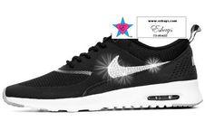 Custom Glitter Nike Air Max Thea Black Grey White 34ada26b923f