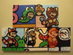 Super Mario Bros Perler Beads gone Crazy on Canvas Perler Beads, Perler Bead Mario, Fuse Beads, Perler Bead Templates, Pearler Bead Patterns, Perler Patterns, Pixel Art, Mario Bros, Mario Brothers