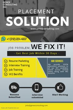Looking for job or placement solutions ? Genex Consulting Inc. provides placement solutions with job assistance to all our candidates based across United states along with benefits. To Know More WhatsApp Us On - Interview Training, Job Opening, Job Search, Resume, United States, Marketing, Cv Design
