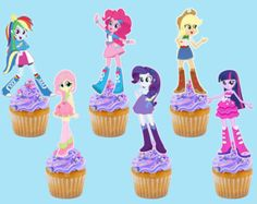 Printable Equestria Girls Cupcake Toppers by InstaBirthday on Etsy