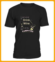 Top Shirt for CAMPING Drink Wine Sit by Campfire front - Camping shirts (*Partner-Link)