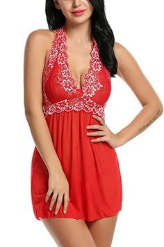 Women Outfits Halter Lingerie Mini Nightwear Lace Babydoll at Amazon Women's Clothing store