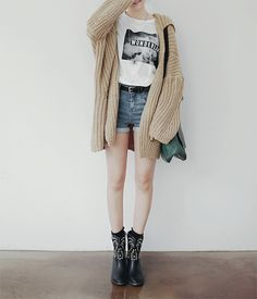 cardigan tee and shorts. boots