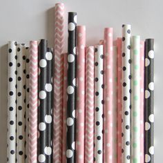 Pink and Mint Paper Straws - Mixed Pack