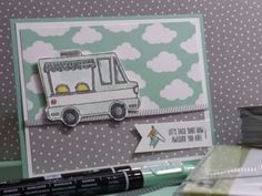 Stampin' Up Tasty Trucks.  Love this cute Sale-A-Bration stamp set.  Created this for our demo swaps.  Robinjstamps.stampinup.net
